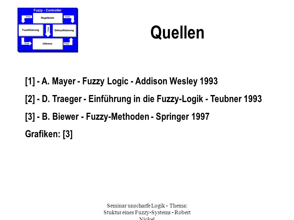 Quellen [1] - A. Mayer - Fuzzy Logic - Addison Wesley 1993
